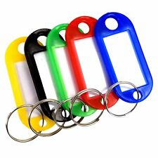 Stainless Steel Key Ring Tag Wire Plastic Key Chain ID Name Label luggage Lot