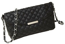 Quilted Black Faux Leather Gold Chain Cross Body Handbag Vintage Evening Bag
