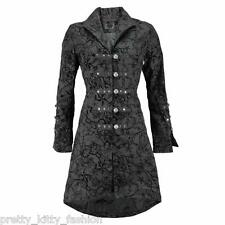 VICTORIAN BLACK FLOCK SWALLOWS TATTOO GOTH STEAMPUNK EMO COAT JACKET SIZE 6-26