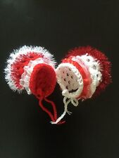 Hand Crochet  Baby Bonnet Hat Lace Trim  0-3 Months Red White Sparkly Girl New
