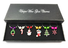 Christmas Art Wine Glass Charms - 3 Different Gift Options ~ FREE P&P