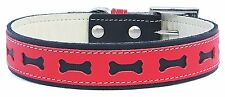 DOGGY THINGS BONE PUNCH REAL LEATHER DOG COLLAR / COLLAR LEAD SET blue red brown