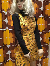 Women's Run & Fly80's/90's style dungaree/pinafore dress incord with dino print
