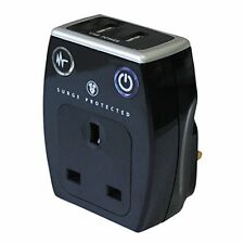 Masterplug Surge Protected Power Socket Adapter (Black) with USB Charging Ports