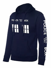 Inspired Doctor Police Box Who Hoodie Dr in Adult size Hooded Top - Navy Blue