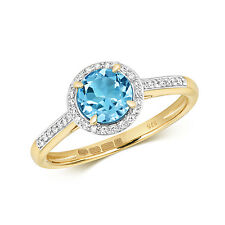Svizzero Blu Topazio & 0.12ct Anello Diamante 9ct Oro