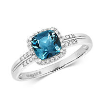 London Topazio Blu Cuscino & Anello Diamante 9ct Oro Bianco