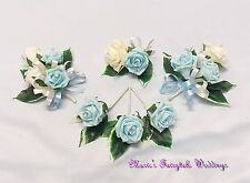 WEDDING FLOWER BUTTONHOLE CORSAGE PACKAGE LIGHT BLUE ROSE DIAMANTE CRYSTAL PEARL