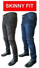 Mens Motorcycle Motorbike Jeans Denim Skinny Slim Fit with Protective Lining