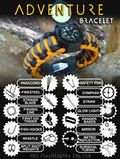 WAZOO ADVENTURE PARACORD SURVIVAL KIT BRACELET BUSHCRAFT SURVIVAL CAMPING EDC