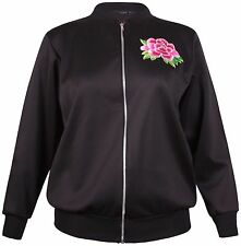 Womens New Plus Size Floral Embroidered Ladies Long Sleeve Zip Bomber Jacket Top