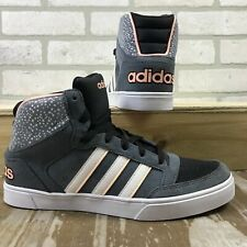 Adidas NEO Hoops Vulc Mid Top Grey Women's Trainers Shoes UK 5.5_6_6.5
