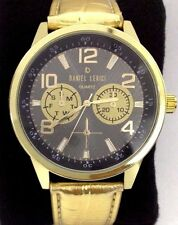 Daniel Lerici Large Round Black Faced Wrist Watch with Gold Coloured Strap