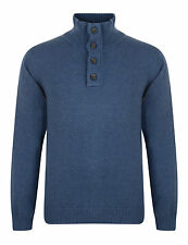 ESPRIT New Mens Button High Neck Jumper Cotton Pullover Sweater Blue Medium M