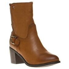 New Womens XTI Tan 28515 Synthetic Boots Ankle Elasticated Zip