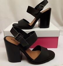 "Women Ladies JustFab 4.5"" High Heel Heeled Black Strapped Shoes Buckle Size 6"