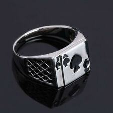 Cool Ace Spades Poker Card Ring Personality Heart Shape Silver Plated PO