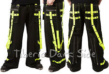 Poizen Industries Neon Yellow Straps Cyber Goth Punk Rave Pants Unisex Trousers