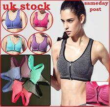 Seamless Front Zip Sports Bra Gym Crop Top Vest Stretch Plunge Removable Padded
