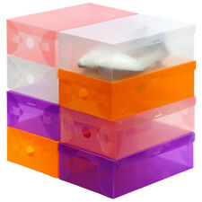 1/6x  Style Foldable Plastic Transparent Drawer Case Shoe Storage Stackable Box