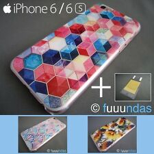 Funda Carcasa semitransparente dibujos colores para iphone 6 / 6S + Protector