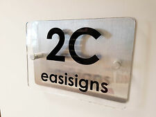 SIGN PLAQUE DOOR NUMBER STREET GLASS EFFECT ACRYLIC ALUMINIUM NAME MODERN HOUSE