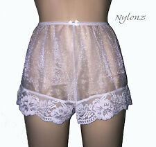 NYLONZ Sheer 100% Nylon FRENCH KNICKERS Panties WHITE - Vintage Style
