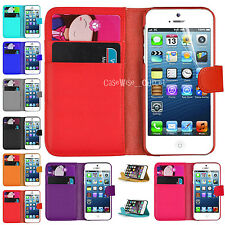 Leather Wallet Book Side Flip Case Cover Pouch For Samsung Galaxy & Apple iPhone