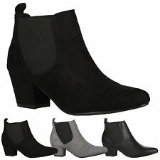 Pixie Womens Low Mid Heels Chelsea Ankle Boots Ladies Shoes Autumn Winter Size