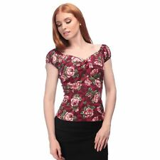 Collectif 50s Style Dolores Burgundy red rose Floral Gypsy Top
