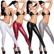 Hose Leggings Tregging Röhre Zipper M 36 38 Wetlook Leder Optik sexy eng Damen