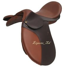 """NEW"" Brown Leather Treeless GP (jumping) Saddle 16"",17""&17.5"" with accessories"