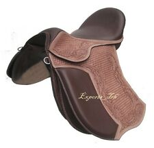 Brown Leather Treeless GP (jumping) Saddle 3 sizes with Carving, with accessory