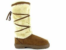 Ladies ELLA Chestnut Faux Suede Fur Tall Warm Mid High Leg Boots Size- Kitty