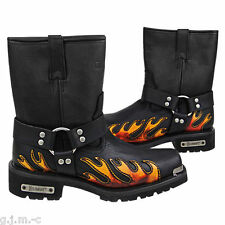 Xelement 1490 Black Flame Motorcycle Harness Full Grain HD Leather Lug Sole Boot