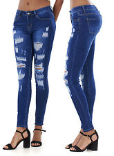 LADIES RIPPED JEANS FADED SKINNY DISTRESSED DARK WASH SLIM WOMENS JEANS 6-14.