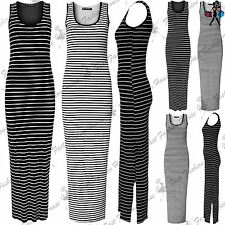 Ladies Womens Side Split Horizontal Stripes Sleeveless Long Maxi Dress UK S-XL