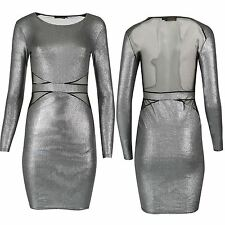 Ladies Waist Back Mesh Insert Lurex Fabric Womens Full Sleeve Bodycon Mini Dress
