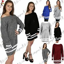 Womens Ladies Chunky Knit Off The Shoulder Bardot Oversized Baggy Jumper Dress