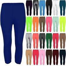 Womens Ladies Plain Pants Three Quarter Jersey Workout Gym Fitness Leggings