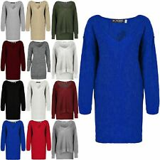 Womens V Plunge Oversized Jumper Ladies Dress Baggy Chunk Knit Long Sweater Top
