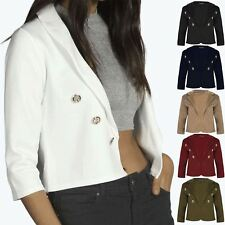 Ladies Plain Open Blazer Womens Front Gold Buttons Cropped Cardigan Uk 8-22
