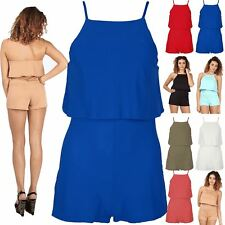 Women Strappy Cami High Neck Frill Open Back Ladies All In One Jumpsuit Playsuit