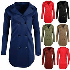 Womens Tuxedo Collared Wrap Duster Coat Ladies Golden Button Cardigan Mini Dress