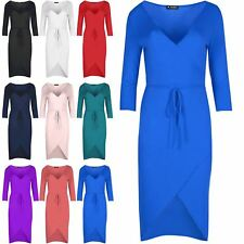 Womens Belted V Plunge Neck Wrap Over Ladies Bodycon Fishtail Midi Dress Top