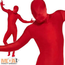 Red 2nd Skin Suit Fancy Dress Lycra Bodysuit Mens Ladies Adult Skinz Costume