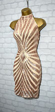 ~LIAH~ Nude & Gold Sequin Celeb Bodycon Evening Mini Party Dress 8 10 12 14