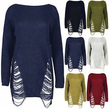 Womens Ladies Chunky Jumper Oversized Knitted Destroy Baggy Mini Ripped Dress
