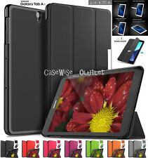 Folio Leather Folding Book Case Cover Samsung Galaxy Tablet With Tempered Glass