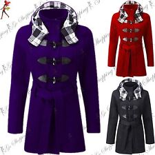 Womens Ladies Long Sleeve Winter Duffle Belted Double Collar Coat Parka Jacket